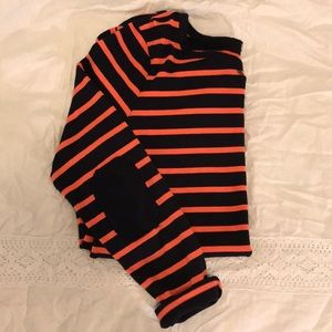 GAP orange and navy striped knit top